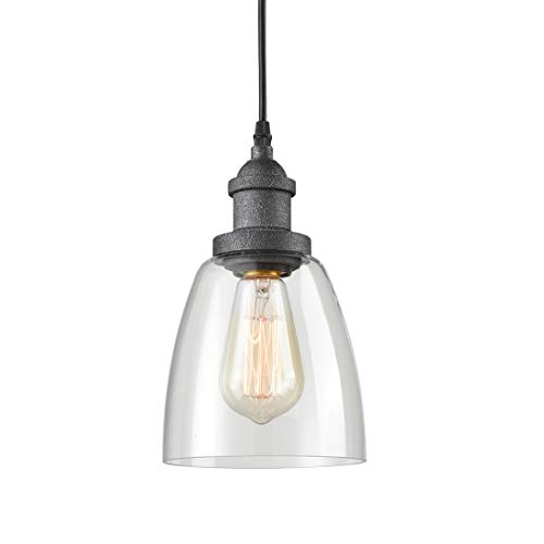 AXILAND Rustic Glass Pendant Lights with Clear Glass Shade