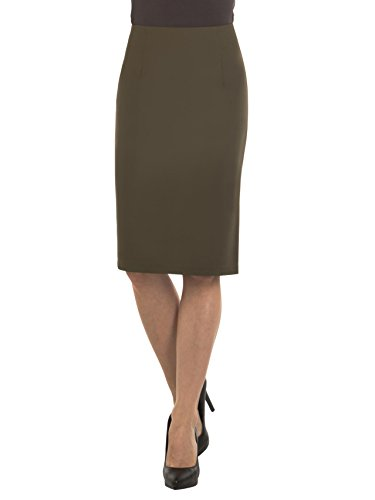 Velucci Women High Waist Pencil Skirt | Knee High Skirt With Zipper & Back Slit