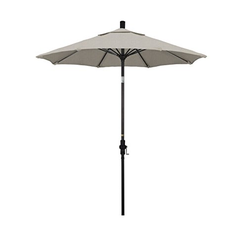 California Umbrella 7.5' Round Aluminum Pole Fiberglass Rib Market Umbrella, Crank Lift, Collar Tilt, Bronze Pole, Woven Granite Olefin by California Umbrella