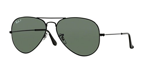 Ray-Ban RB3025 Unisex Aviator Polarized Sunglasses (Black Frame/Green Polarized Lens 002/58, - Ban Ray Aviators Sunglasses Mens