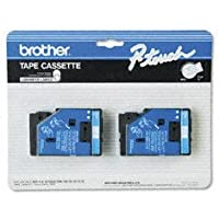 2/Pack 1/2 (12mm) Blue on White P-touch TC Tape for Brother PT-20, PT20 Label Maker