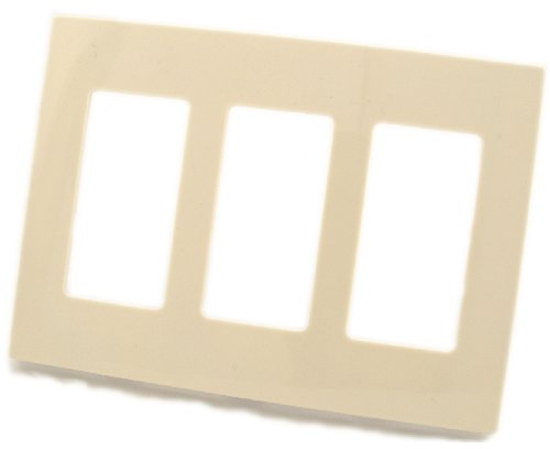 (Leviton 80311-ST 3-Gang Decora Plus Screwless Snap-On Wallplate, Light Almond)