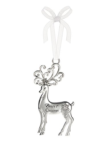 Baby's First Christmas Silver Reindeer Zinc Epoxy Glass Christmas Ornament