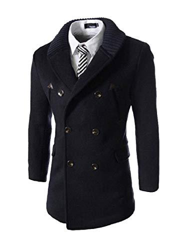 RkBaoye Men Double-Breasted Mid Length Knit Turn-Down Collar Woolen Overcoat 2