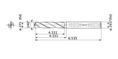Internal Coolant 1.7 mm Point Length 9.525 mm Cutting Dia 10 mm Shank Dia. Mitsubishi Materials MVS0953X08S100 MVS Series Solid Carbide Drill 8 mm Hole Depth