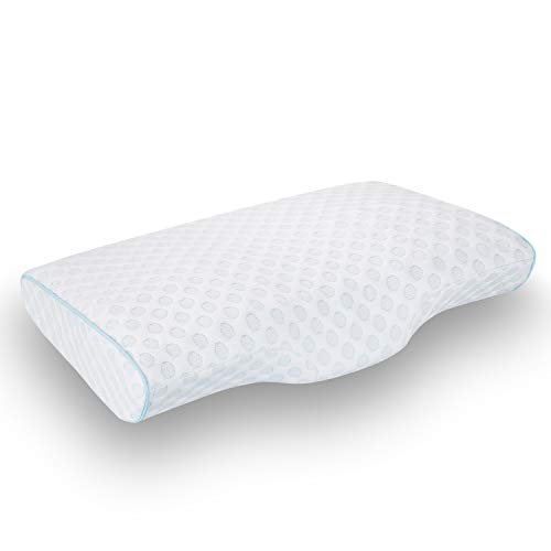 LEREKAM Cervical Pillow Memory Foam Pillow Orthopedic Sleeping Pillows Ergonomic Cervical Pillow for Neck and Shoulder Pain,Side, Back and Stomach Sleepers,Pillowcase,Massage Granule(Firm&Blue dot)