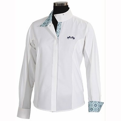 Equine Couture Girl's Kelsey Long Sleeve Show Shirt, White/Pink, ()