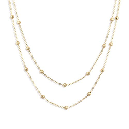 Fettero Dainty Layered Gold Choker Necklace,14K Gold Fill Satellite Chain Necklaces Jewelry (NK5-5) (Double Beaded Chain)