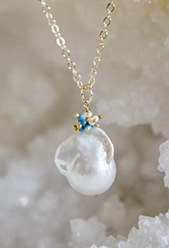 White Baroque Pearl Cluster Turquoise and Magnesite Gold Filled Necklace - 20