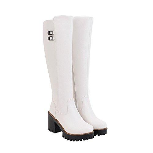 Winter Schließen Damen PU Stiefel Zehe Weiß Niedriger AgeeMi Shoes Schnüren Rund wBE4FTqTfx
