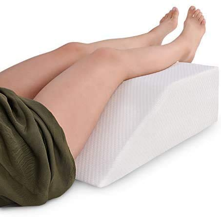 Leg Elevation Pillow with Memory Foam Top - Elevating Leg Rest to Reduce Swelling, Back Pain, Hip and Knee Pain - Ideal for Sleeping, Reading, Relaxing- Breathable and Washable Cover- 8in Height Wedge
