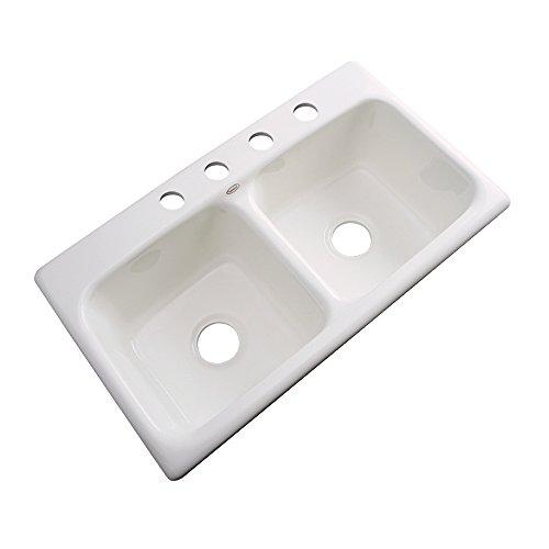 Dekor Sinks 64403 Englewood Cast Acrylic Double Bowl Kitchen Sink-4 Hole, 33