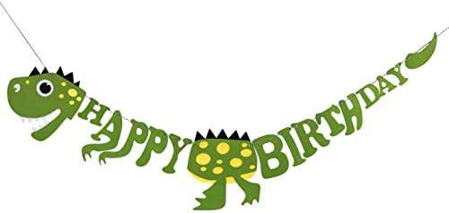 HONGXIN-SHOP Pancarta de Feliz Cumpleaños de Dinosaurio Happy Birthday Banner de Fieltro para Niños Niño Feliz Cumpleaños Decoracion