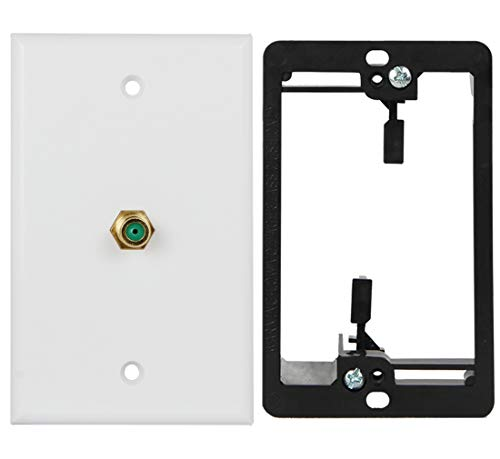 Wi4You Coax Wall Plate White with Single Gang Low Voltage Mounting Bracket, 3GHz F Connector for Coaxial Cable, CATV & Satellite Box Connection (3G Coax, 1pack)