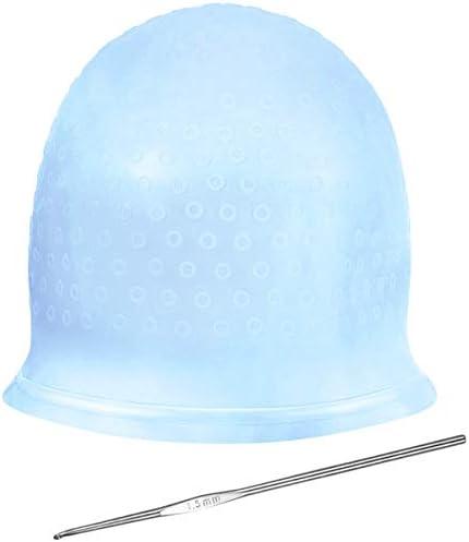 NATUCE Siliconen highlighting Cap Markeer Cap en haak Hair Dye Cap Hair Frosting Cap Markeer Frosting Cap Frosting Cap Frosting en Tipping Cap blauw