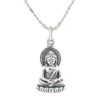 Amazon small sitting young buddha pendant in sterling silver on small sitting young buddha pendant in sterling silver on 18quot rhodium plated sterling silver bead aloadofball Image collections