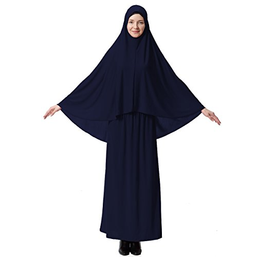 (Muslim Dresses for Women Two-Piece Full Length Dress Hijab Suit Abaya Scarf Dress Robe Gown Prayer Sets Navy)