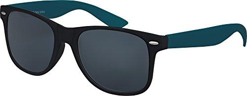 NEUF haute qualité Nerd Wayfarer Lunettes de soleil Gomme en Style Rétro Vintage Unisexe Lunettes avec Charnière à ressort de couleur Cadre bleu foncé/Noir - fumé
