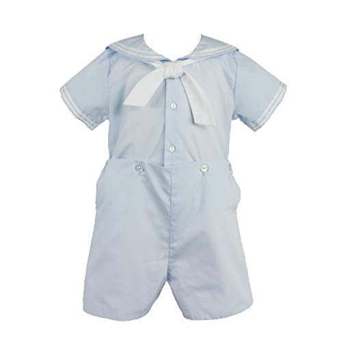 Petit Ami Baby Boys' 2 Piece Nautical Bobby Suit with Collar, 9 Months, Blue]()