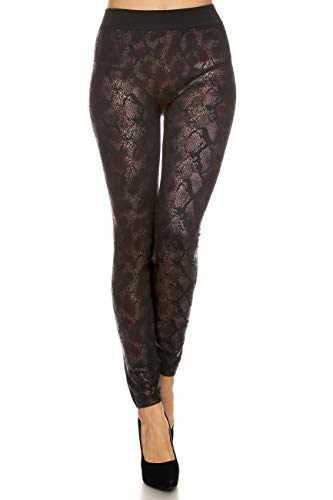 (Yelete Women's Printed Leggings Fleece Lining Metalic Animal Prints High Waist Super Soft Strechy Skinny Pants Color Gold Python Snake One Size)