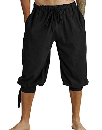 Mens Renaissance Pirate Costume, Medieval Viking Lace Up Knicker Gothic Pants Knee Length Cotton Linen Shorts (L, Black) -