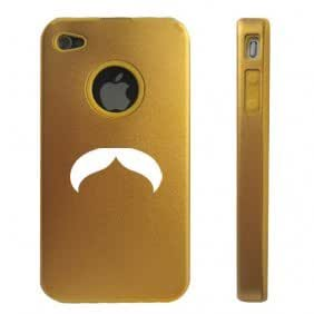 Apple iPhone 4 4S 4 Gold D3504 Aluminum & Silicone Case Cover Horseshoe Mustache