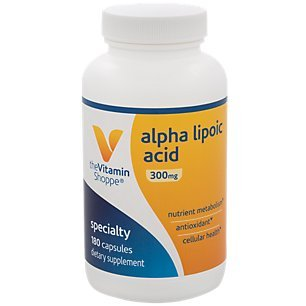 Alpha Lipoic Acid 300mg, Natural Antioxidant Formula to Support Glucose Metabolism Promotes Healthy Blood Sugar, ALA Fights Free Radicals, Gluten Dairy Free (180 Capsules) by The Vitamin Shoppe