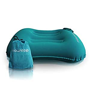mountop ultralight inflating travelcamping ergonomic pillowsblue