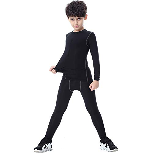 - TERODACO Kids Compression Shirts and Pant 2 Pcs Thermal Underwear Set Base Layer