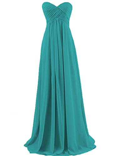 - Bridesmaid Dresses Long Prom Dress Evening Party Gowns Plus Size Chiffon Sweetheart Maxi for Women Jade US 0