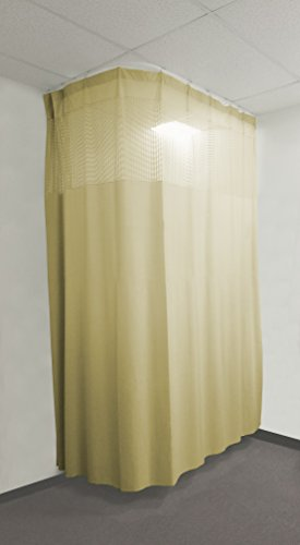 16Ft Medical Privacy Flexible Curtains High Ceiling Hospital Lab Clinic Curved Room Decorative w/ Track- 10ft High (Beige)
