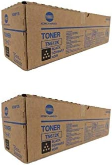 Konica Minolta A0VW130 A0VW135 TN612K OEM Toner Cartridge 2 Pack Black 37500 Page-Yield Per Ctg