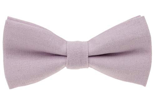 Mens Charm Solid Linen Pretied Bowtie - Various Colors (Pale Lilac)