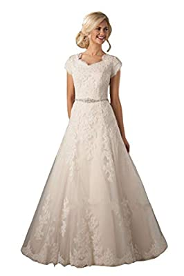Lazacos Women's Cap Sleeve Modest Lace Applique Beaded Button A-Line Wedding Dress