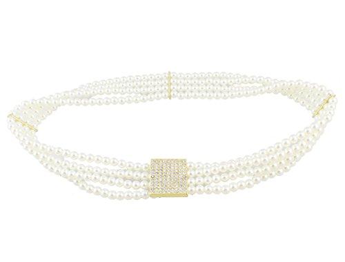 White Metallic Rhinestone Buckle (Ladies Interlocking Buckle Rhinestone Beads Accent Stretchy Waist Hip Belt Waistband)