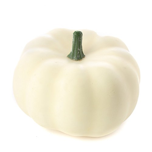 Halloween Decorations 6 Artificial Small Cream White Pumpkins (Large Image)
