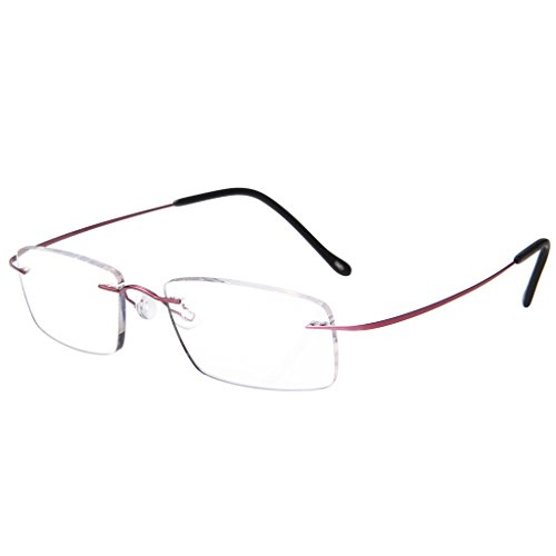 LianSan Women Desginer Fashion Lightweight Rimless Titanium Reading Glasses Anti Glare Relieve Eye Strain L8013T Purple ()