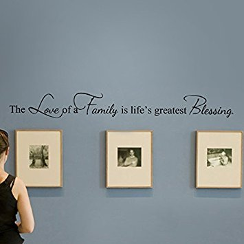 MairGwall Romantic Love Saying-The Love Of A Family Is LifeÁøs Greatest Blessing- Motivation Wall Quotes Baby Nursery Wall...