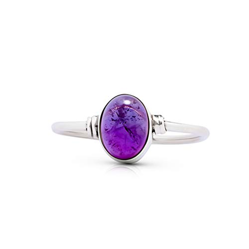 - Koral Jewelry Amethyst Vintage Gipsy Delicate Ring 925 Sterling Silver Oval Stone Boho Chic (8)