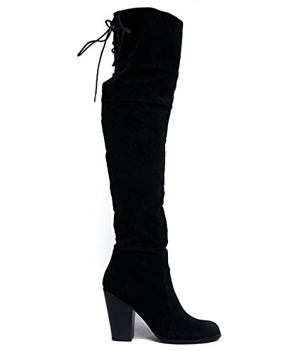 (J. Adams Buffy Thigh Highs - Over The Knee Block Heel Lace Up Thigh High Boots)