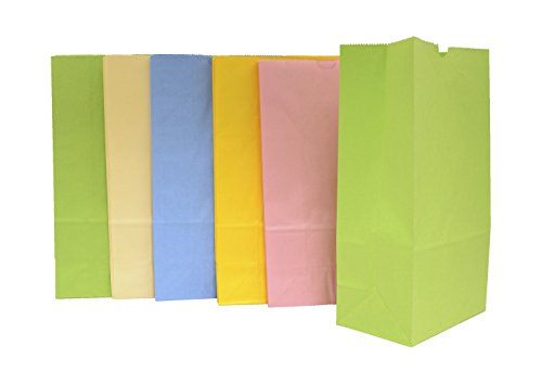 School Smart Flat Bottom Paper Bags - 6 x 11 inches - Pack of 28 - Assorted Pastel Colors