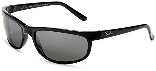 RAY-BAN Men's RB2027 Predator 2 Rectangular Sunglasses, Black/Polarized Grey Mirror, 62 mm