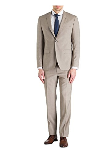Hugo Boss 2 Button Flat Front 2 Piece Men's Suit 100% Italian Virgin Wool Regular Fit C-Jeys1/C-Shaft1 50326474 263 Solid Beige by Hugo (44 Regular USA Jacket/38 Waist (Wool Italian Business Suit)