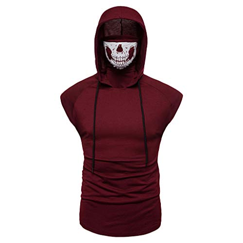 iHPH7 Tank Top Mens Tank Top with Hood Pocket Gym Hoodie Workout Sleeveless Muscle Shirt Men Mask Skull Pure Color Pullover Sleeveless Hooded Sweatshirt Tops Blouse M Wine Red