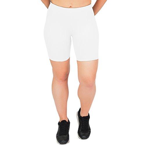 Stretch is Comfort Women's Cotton Bike Shorts White 3X