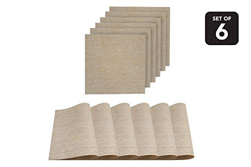 Dainty Home 6NS1515IV Natural Woven Textilene Waterproof, Heat & Stain Resistant Washable Placemat with Shimmer Square Shape 15x15'' Set of 6, Ivory (Table Placemats Small For Square)