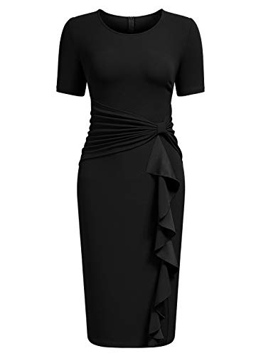 (AISIZE Women's 50s Vintage Ruffle Draped Short Sleeve Bodycon Cocktail Knee Dress Black)