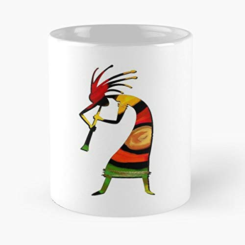 Flute Music Kokopelli Kokopeli - Coffee Mugs,handmade Funny 11oz Mug Best Holidays Gifts For Men Women Friends. (Kokopelli Design Drum)
