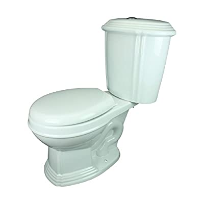 Renovator's Supply White China Two-Piece Dual Flush Toilet No-Slam Round Toilet Seat Included Scratch Resistant Button Flush