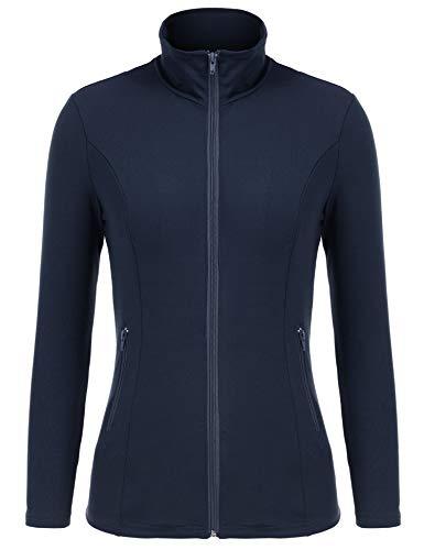(bosbary Women's Sports Jacket Lightweight Full Zip Workout Jacket with Zipper Pockets(Navy Blue,X-Large))